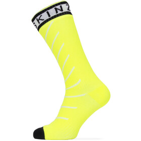 Sealskinz Waterproof Warm Weather Mid Socks with Hydrostop Neon Yellow/Black/White
